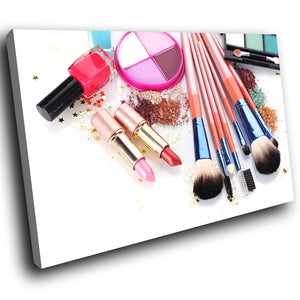 E095 Colourful Makeup Brush Cool Modern Canvas Wall Art Large Picture Prints-Canvas Print-WhatsOnYourWall