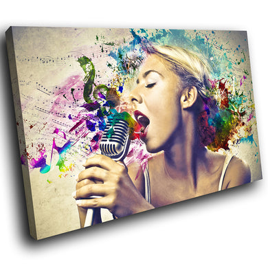 E100 Colourful Music Woman Retro Cool Modern Canvas Wall Art Large Picture Print-Canvas Print-WhatsOnYourWall