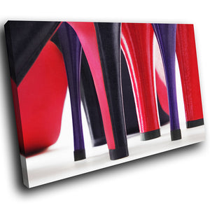 E101 Red Purple Stilettos Fashion Modern Canvas Wall Art Large Picture Prints-Canvas Print-WhatsOnYourWall