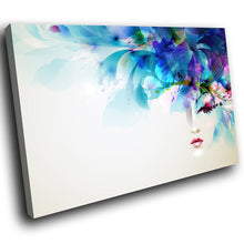 E102 Blue Floral Face Abstract Retro Modern Canvas Wall Art Large Picture Prints-Canvas Print-WhatsOnYourWall