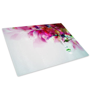 Pink Floral Face Abstract Glass Chopping Board Kitchen Worktop Saver Protector - E103-People Chopping Board-WhatsOnYourWall
