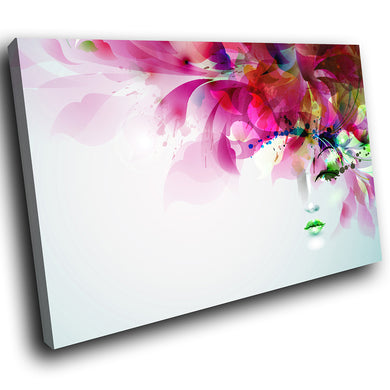 E103 Pink Floral Face Abstract Retro Modern Canvas Wall Art Large Picture Prints-Canvas Print-WhatsOnYourWall