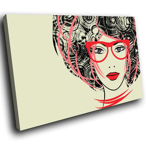 E104 Red Black Pink Woman Retro Cool Modern Canvas Wall Art Large Picture Prints-Canvas Print-WhatsOnYourWall