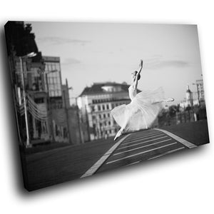 E105 Black White Ballerina Ballet Modern Canvas Wall Art Large Picture Prints-Canvas Print-WhatsOnYourWall