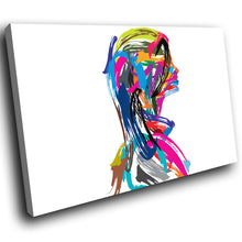 E107 Colourful Woman Abstract Retro Modern Canvas Wall Art Large Picture Prints-Canvas Print-WhatsOnYourWall