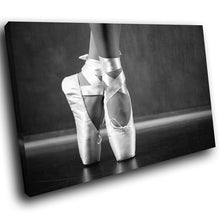 E109 Black White Ballerina Ballet Shoes Modern Canvas Wall Art Picture Prints-Canvas Print-WhatsOnYourWall