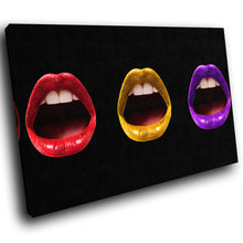 E110 Red Yellow Purple Black Cool Lips Modern Canvas Wall Art Picture Prints-Canvas Print-WhatsOnYourWall