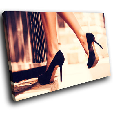 E112 Black Stilettos Woman Retro Modern Canvas Wall Art Large Picture Prints-Canvas Print-WhatsOnYourWall