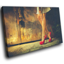 E113 Red High Heels Vintage Woman Modern Canvas Wall Art Large Picture Prints-Canvas Print-WhatsOnYourWall
