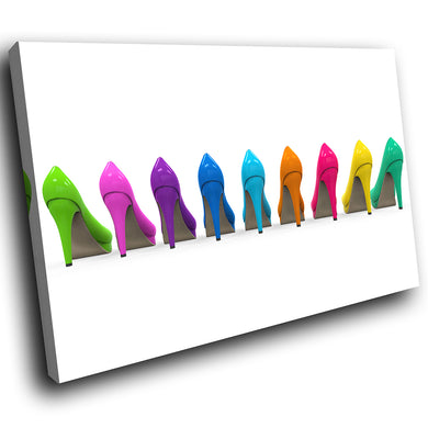E116 Colourful Retro Stilettos Cool Modern Canvas Wall Art Large Picture Prints-Canvas Print-WhatsOnYourWall