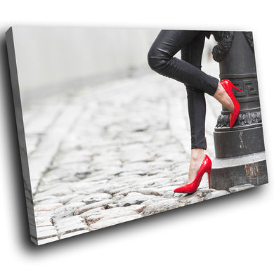 E118 Red Black White Stiletto Retro Modern Canvas Wall Art Large Picture Prints-Canvas Print-WhatsOnYourWall