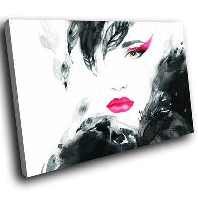 E119 Black White Pink Retro Woman Modern Canvas Wall Art Large Picture Prints-Canvas Print-WhatsOnYourWall