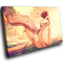 E124 Orange Pink Autumnal Woman Cool Modern Canvas Wall Art Large Picture Prints-Canvas Print-WhatsOnYourWall