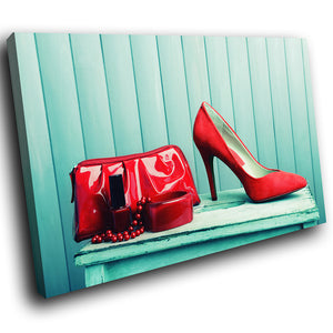 E126 Red Teal Handbag High Heels Modern Canvas Wall Art Large Picture Prints-Canvas Print-WhatsOnYourWall