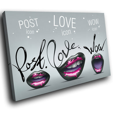 E128 Black Pink Purple Lips Quote Modern Canvas Wall Art Large Picture Prints