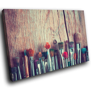 E129 Vintage Makeup Brushes Retro Modern Canvas Wall Art Large Picture Prints-Canvas Print-WhatsOnYourWall