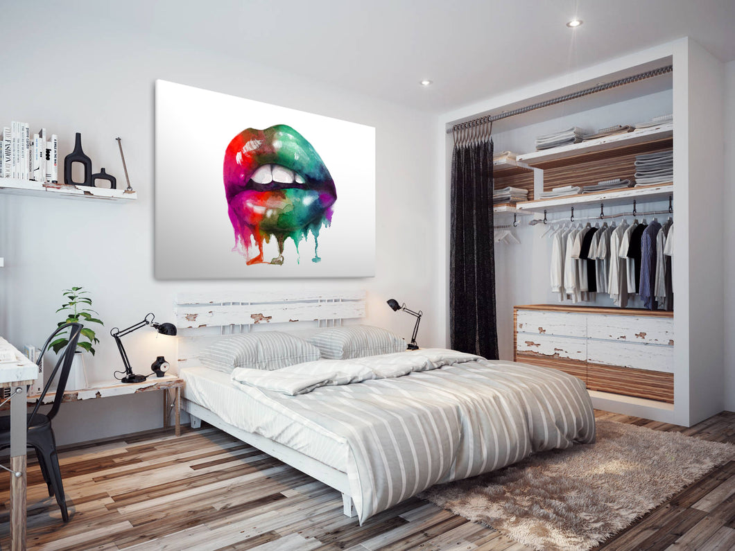 E132 Colourful Retro Cool Erotic Lips Modern Canvas Wall Art Large Picture Print-Canvas Print-WhatsOnYourWall