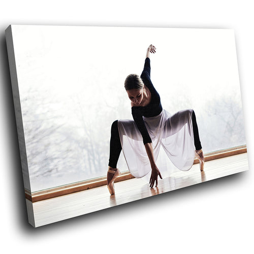 E134 Ballet Ballerina Black Grey Pink Modern Canvas Wall Art Large Picture Print-Canvas Print-WhatsOnYourWall