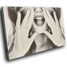 E136 Black White Woman Retro Cool Modern Canvas Wall Art Large Picture Prints-Canvas Print-WhatsOnYourWall