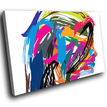 E139 Colourful Retro Funky Woman Modern Canvas Wall Art Large Picture Prints-Canvas Print-WhatsOnYourWall