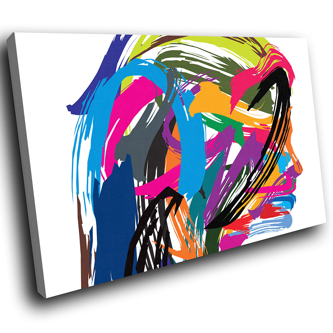 E139 colourful retro funky woman modern canvas wall art large picture prints