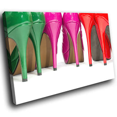 E140 Green Pink Red White Stilettos Modern Canvas Wall Art Large Picture Prints-Canvas Print-WhatsOnYourWall