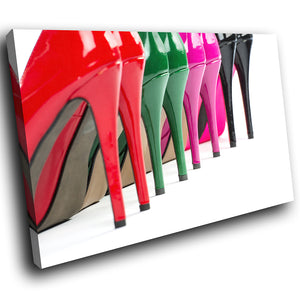 E142 Green Pink Red Black Stilettos Modern Canvas Wall Art Large Picture Prints-Canvas Print-WhatsOnYourWall