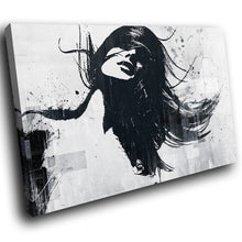 E148 Black White Graffiti Woman Cool Modern Canvas Wall Art Large Picture Prints-Canvas Print-WhatsOnYourWall