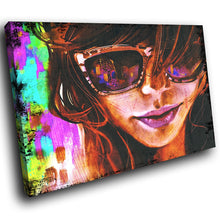 E149 Colourful Abstract Retro Woman Modern Canvas Wall Art Large Picture Prints-Canvas Print-WhatsOnYourWall