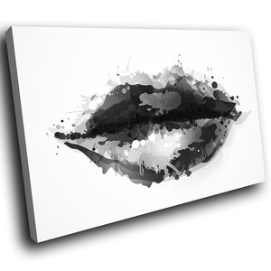 E153 Black White Abstract Lips Cool Modern Canvas Wall Art Large Picture Prints-Canvas Print-WhatsOnYourWall