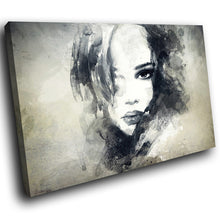 E156 Black White Abstract Retro Woman Modern Canvas Wall Art Large Picture Print-Canvas Print-WhatsOnYourWall