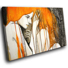 E157 Orange Black White Retro Woman Modern Canvas Wall Art Large Picture Prints-Canvas Print-WhatsOnYourWall