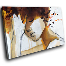 E158 Orange Black White Abstract Woman Modern Canvas Wall Art Picture Prints-Canvas Print-WhatsOnYourWall