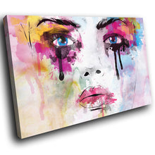 E162 Colourful Abstract Retro Woman Modern Canvas Wall Art Large Picture Prints-Canvas Print-WhatsOnYourWall