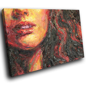 E163 Red Black Orange Woman Face Modern Canvas Wall Art Large Picture Prints-Canvas Print-WhatsOnYourWall