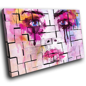 E167 Colourful Abstract Woman Face Modern Canvas Wall Art Large Picture Prints-Canvas Print-WhatsOnYourWall