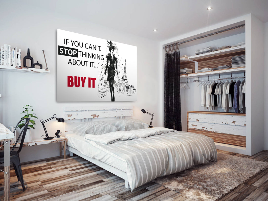 E170 Black White Red Paris Quote Modern Canvas Wall Art Large Picture Prints-Canvas Print-WhatsOnYourWall