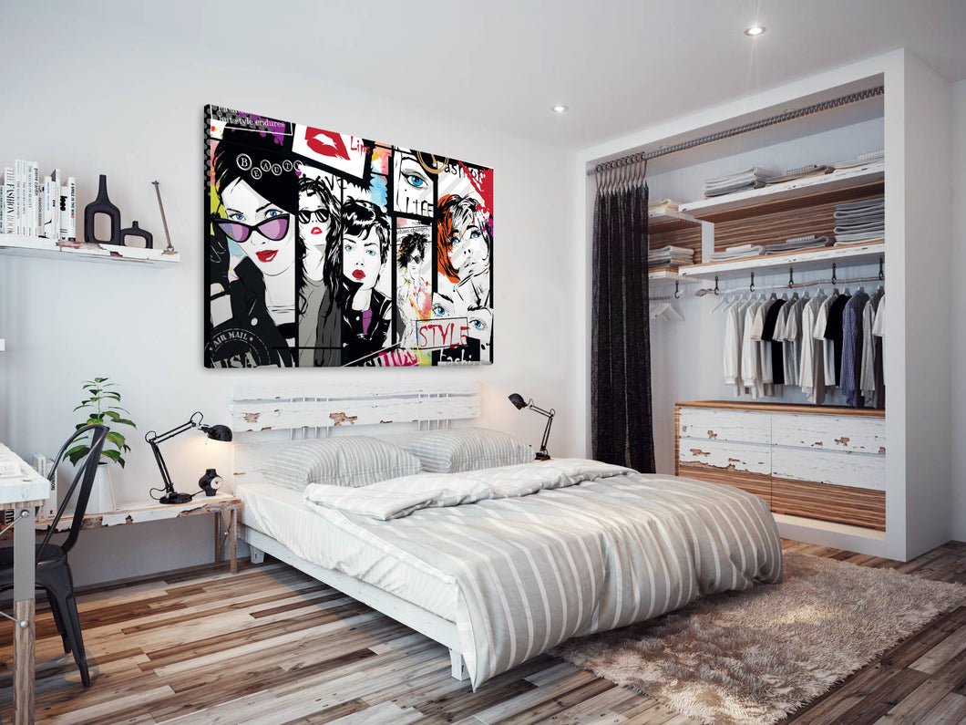 E173 Black White Colourful Women Modern Canvas Wall Art Large Picture Prints-Canvas Print-WhatsOnYourWall