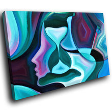 E175 Blue Pink Teal Abstract Face Modern Canvas Wall Art Large Picture Prints-Canvas Print-WhatsOnYourWall