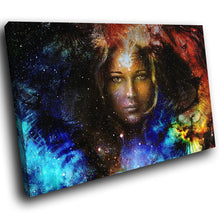 E178 Colourful Woman Face Stars Cool Modern Canvas Wall Art Large Picture Prints-Canvas Print-WhatsOnYourWall
