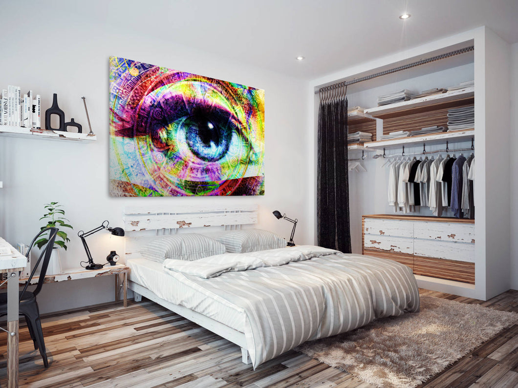 E181 Colourful Retro Abstract Eye Modern Canvas Wall Art Large Picture Prints-Canvas Print-WhatsOnYourWall