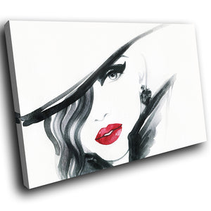 E185 Black White Red Retro Woman Modern Canvas Wall Art Large Picture Prints-Canvas Print-WhatsOnYourWall