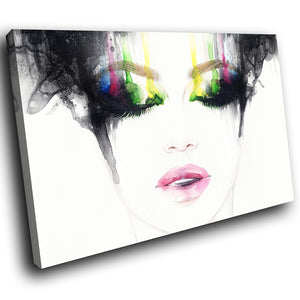 E186 Colourful Black White Woman Face Modern Canvas Wall Art Large Picture Print-Canvas Print-WhatsOnYourWall