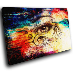 E187 Colourful Vintage Retro Abstract Eye Modern Canvas Wall Art Picture Prints-Canvas Print-WhatsOnYourWall