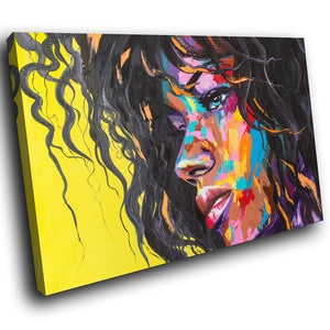 E189 Yellow Colourful Woman Face Modern Canvas Wall Art Large Picture Prints-Canvas Print-WhatsOnYourWall