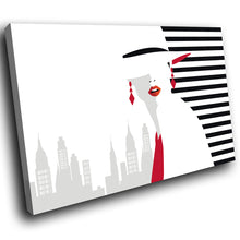 E190 Black White Red Retro Woman Modern Canvas Wall Art Large Picture Prints-Canvas Print-WhatsOnYourWall