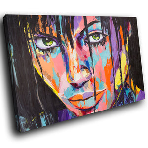 E195 Colourful Retro Woman Face Cool Modern Canvas Wall Art Large Picture Prints-Canvas Print-WhatsOnYourWall