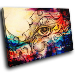 E197 Colourful Vintage Retro Abstract Eye Modern Canvas Wall Art Picture Prints-Canvas Print-WhatsOnYourWall