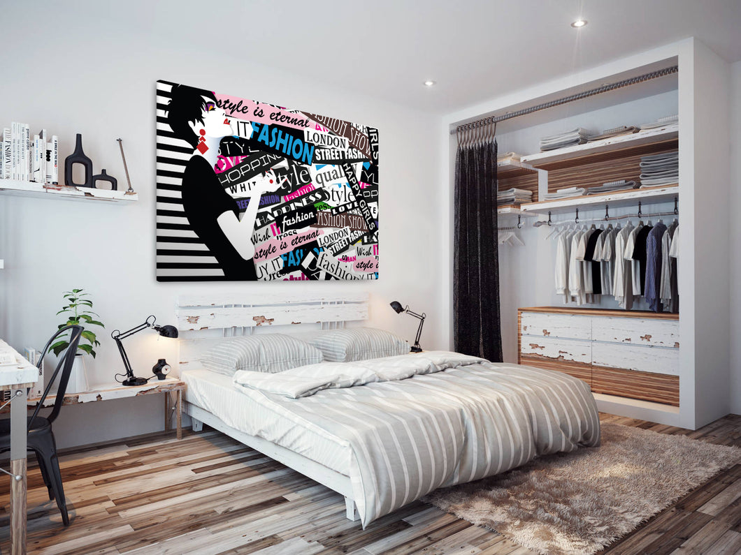 E199 Colourful Black White Quote Woman Modern Canvas Wall Art Picture Prints-Canvas Print-WhatsOnYourWall