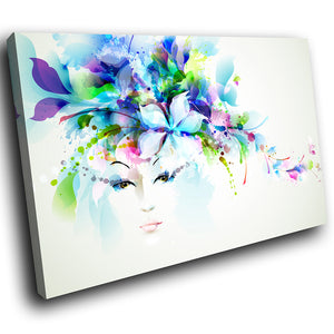 E201 Colourful Retro Floral Woman Modern Canvas Wall Art Large Picture Prints-Canvas Print-WhatsOnYourWall